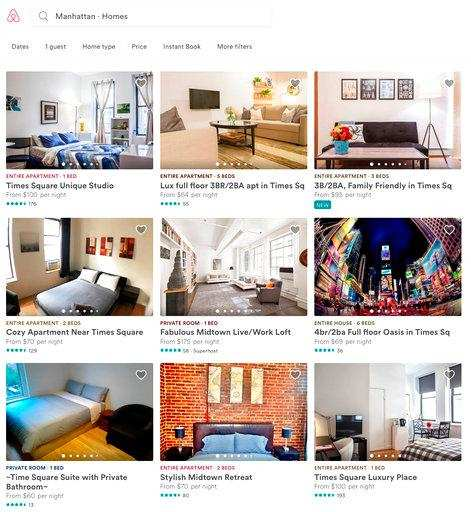 This Jan. 30, 2018 frame from the Airbnb website shows some Manhattan apartments for rent in New York. A report published Jan. 29, from critics of Airbnb says the vacation rental website is driving up rental prices and reducing housing availability in New York City.Photo)