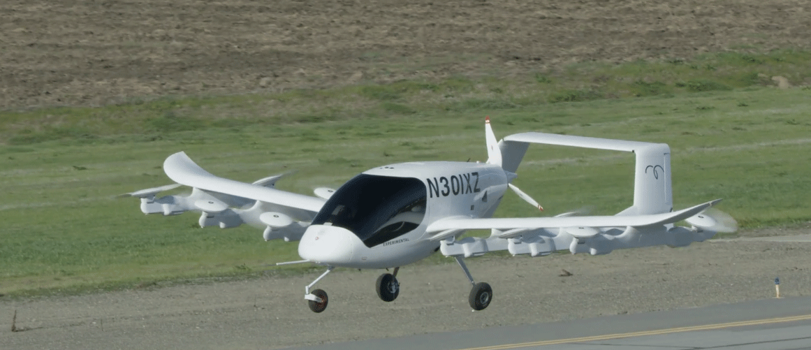 The aircraft, known as Cora, has a wingspan of 12 feet with a dozen rotors all powered by batteries. It can fly about 62 miles and carry two passengers.