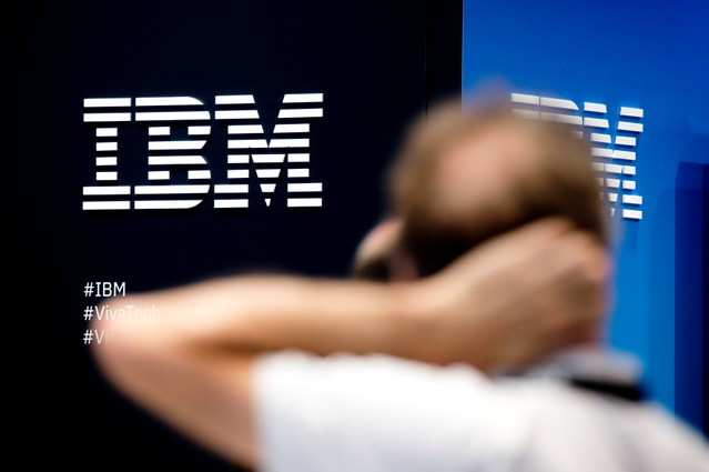 The IBM company logo is pictured during the Viva Tech start-up and technology summit in Paris, France, May 25, 2018. REUTERS/Charles Platiau