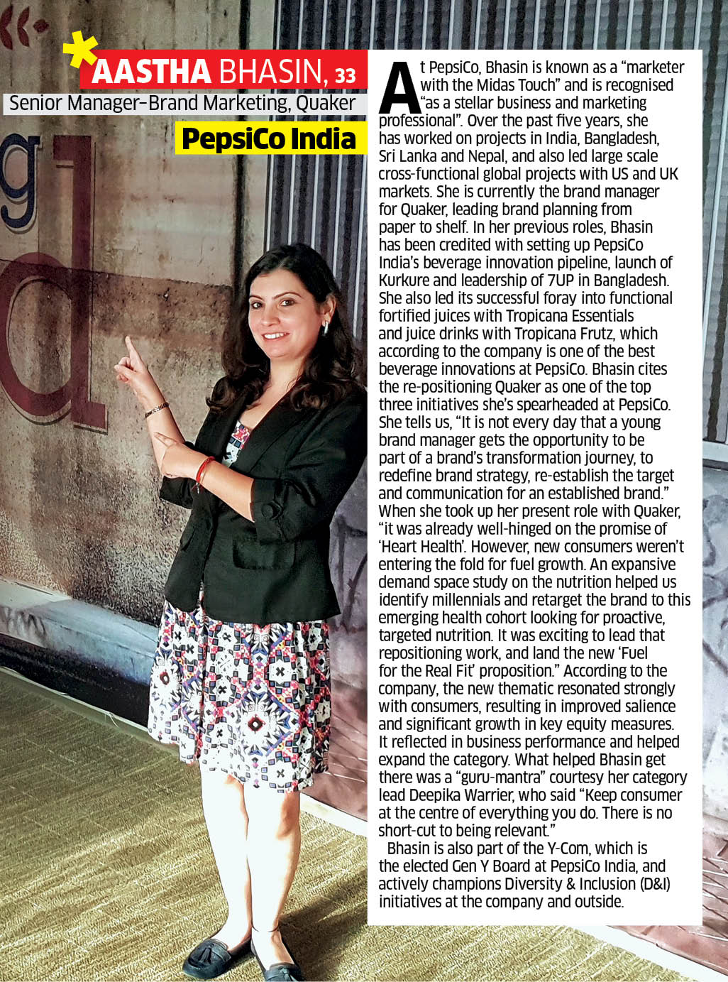 Hot Young Marketers  PepsiCo India s Aastha Bhasin. Bhasin is currently the brand  manager ... b3ace94c7