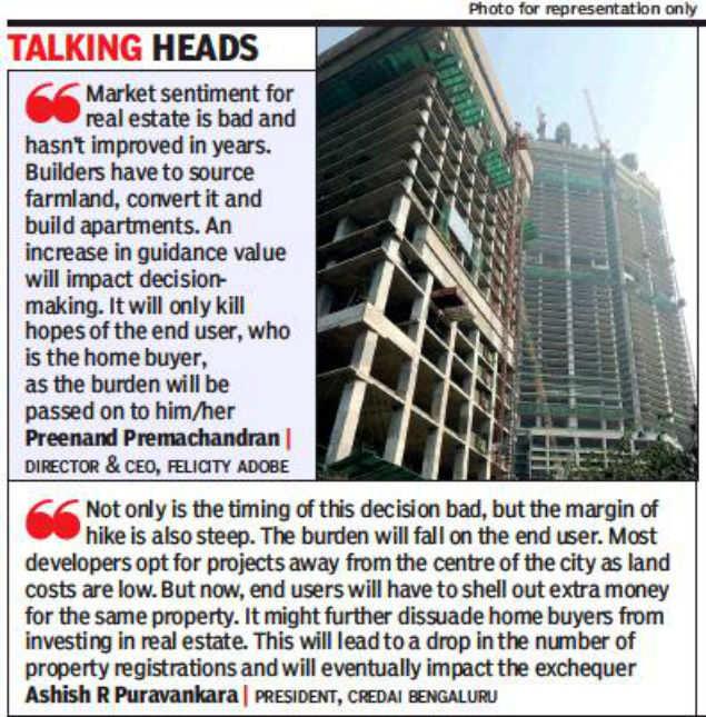 Karnataka hikes guidance value; may hurt affordable housing projects