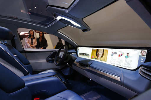 The interior of the Byton M-Byte SUV is on display at the Byton booth at CES International, Tuesday, Jan. 8, 2019, in Las Vegas.Photo/John Locher)