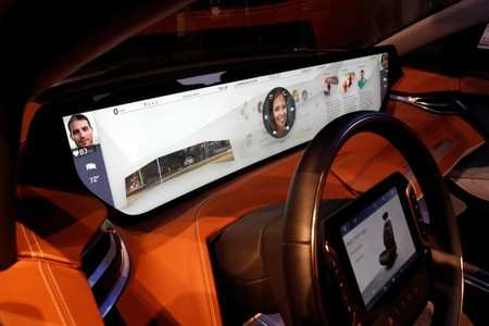 A dashboard video screen is displayed in a Byton M-Byte electric vehicle during the 2019 CES in Las Vegas, Nevada, U.S. January 8, 2019. REUTERS/Steve Marcus