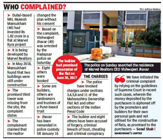 Pune: Three more complaints, police search house of Marvel Realtors' CEO