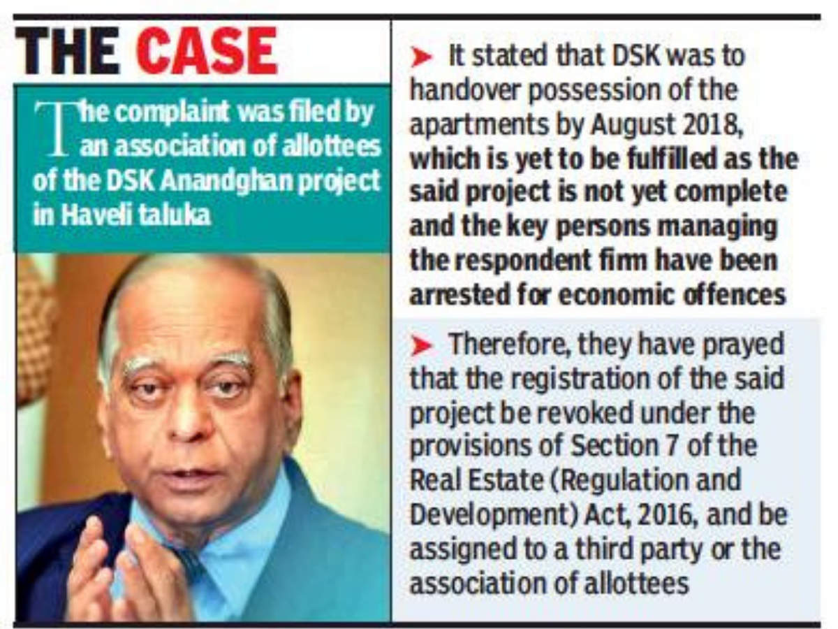 MahaRERA chief puts hearing of DSK group❝s realty projects on hold