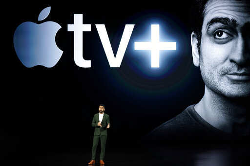 Kumail Nanjiani speaks at the Steve Jobs Theater during an event to announce new Apple products Monday, March 25, 2019, in Cupertino, Calif.Photo/Tony Avelar)