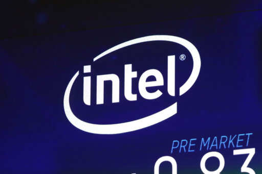 FILE - In this Oct. 3, 2018, file photo the Intel logo appears on a screen at the Nasdaq MarketSite, in New York's Times Square. Intel has revealed another hardware security flaw that could affects millions of machines around the world. The chipmaker said Tuesday, May 14, 2019, that there's no evidence of bad actors exploiting the bug, which is embedded in the architecture of computer hardware.Photo/Richard Drew, File)