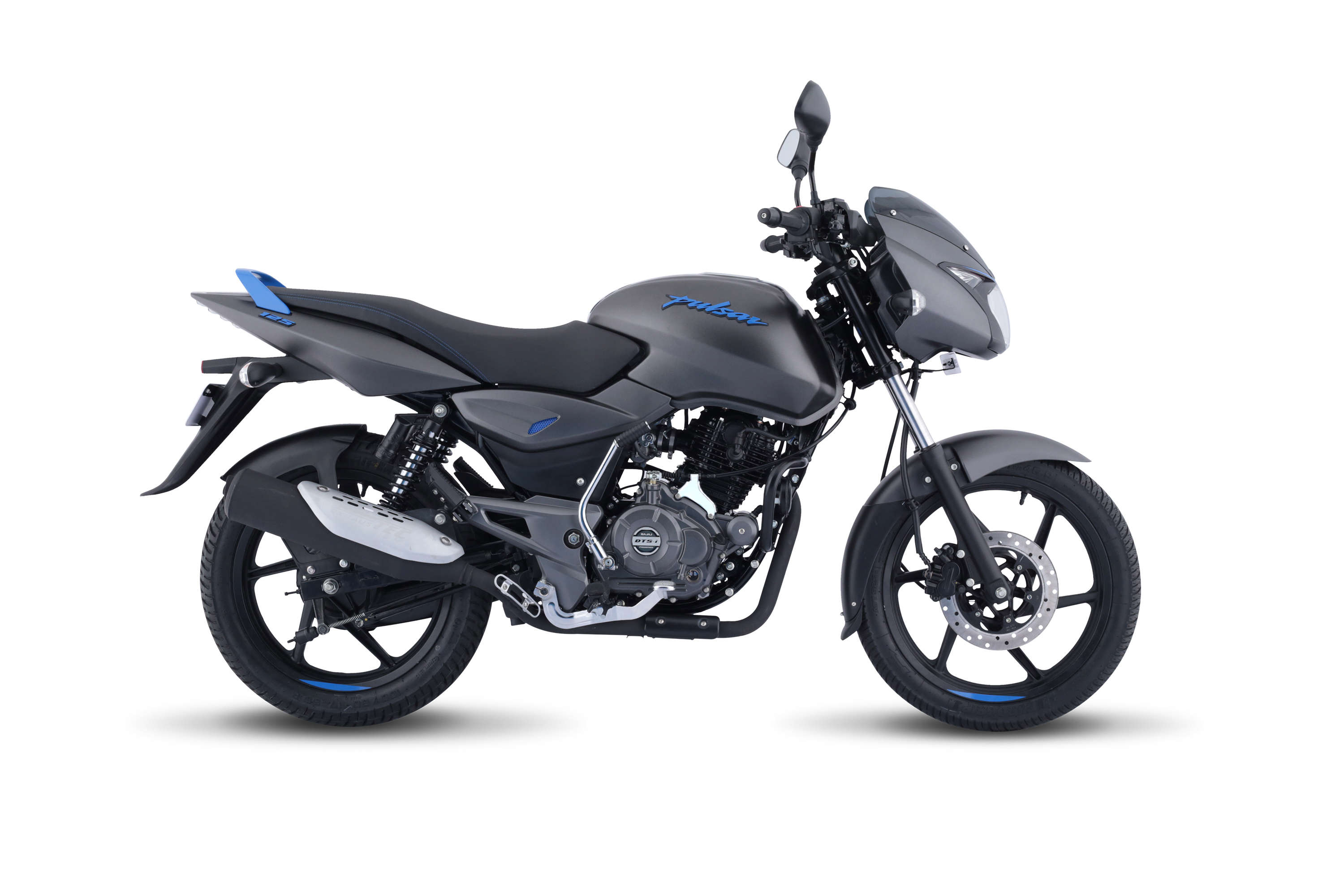 Pulsar 125 Neon comes with colour co-ordinated Pulsar logo and grab rail, 3D variant logo on the rear cowl and neon coloured streak on black alloy to complete the look on the motorcycle.