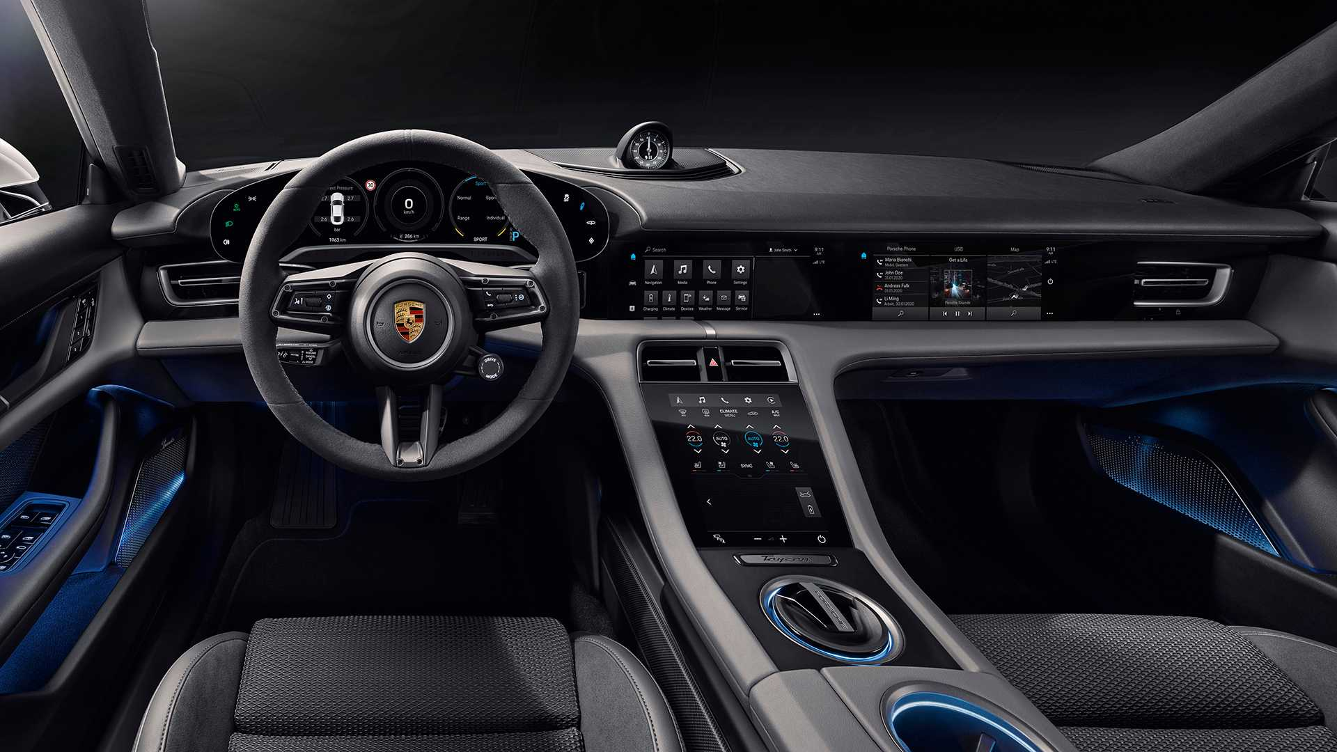 Porsche Taycan Porsche Plans Movie Streaming For Taycan Electric Sedan Auto News Et Auto