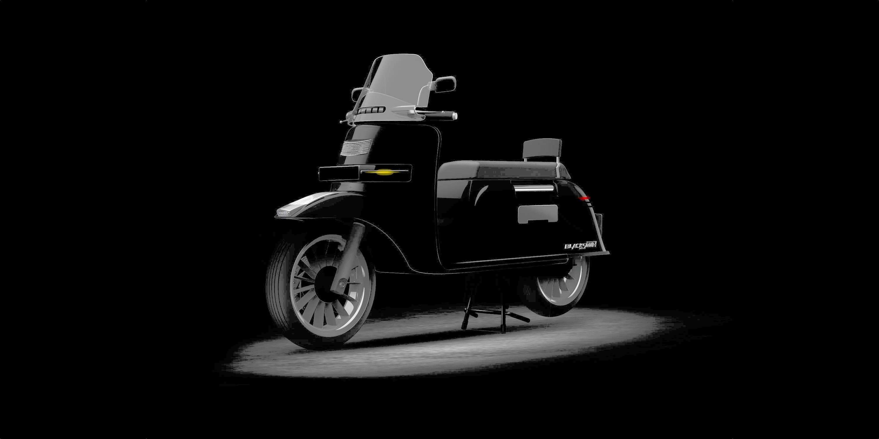electric scooter: Blacksmith readying electric scooter for
