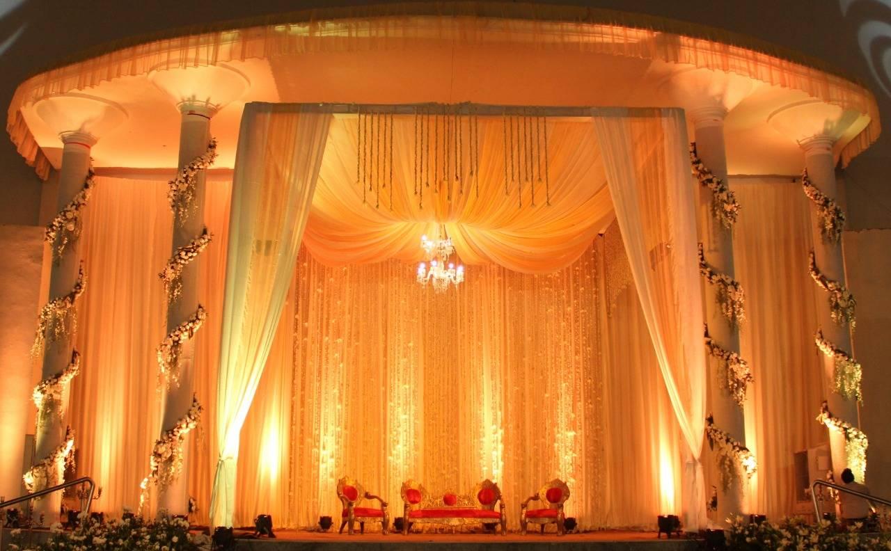 A mandap set up by Yuna Weddings.