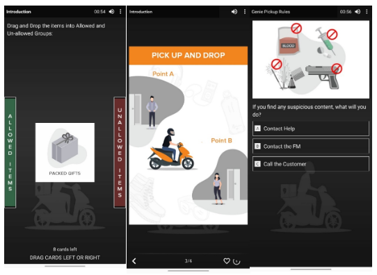 A screenshot depicting Swiggy's training modules for delivery partners