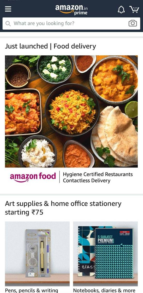 Amazon launches food delivery service in India