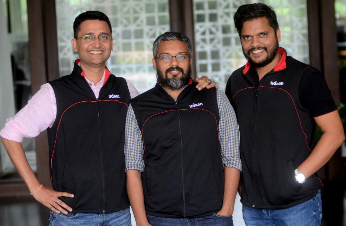 (L-R) Udaan co-founders Amod Malviya, Vaibhav Gupta, Sujeet Kumar