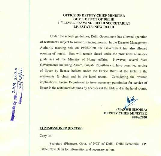 Govt order on Delhi restaurants on serving liquor