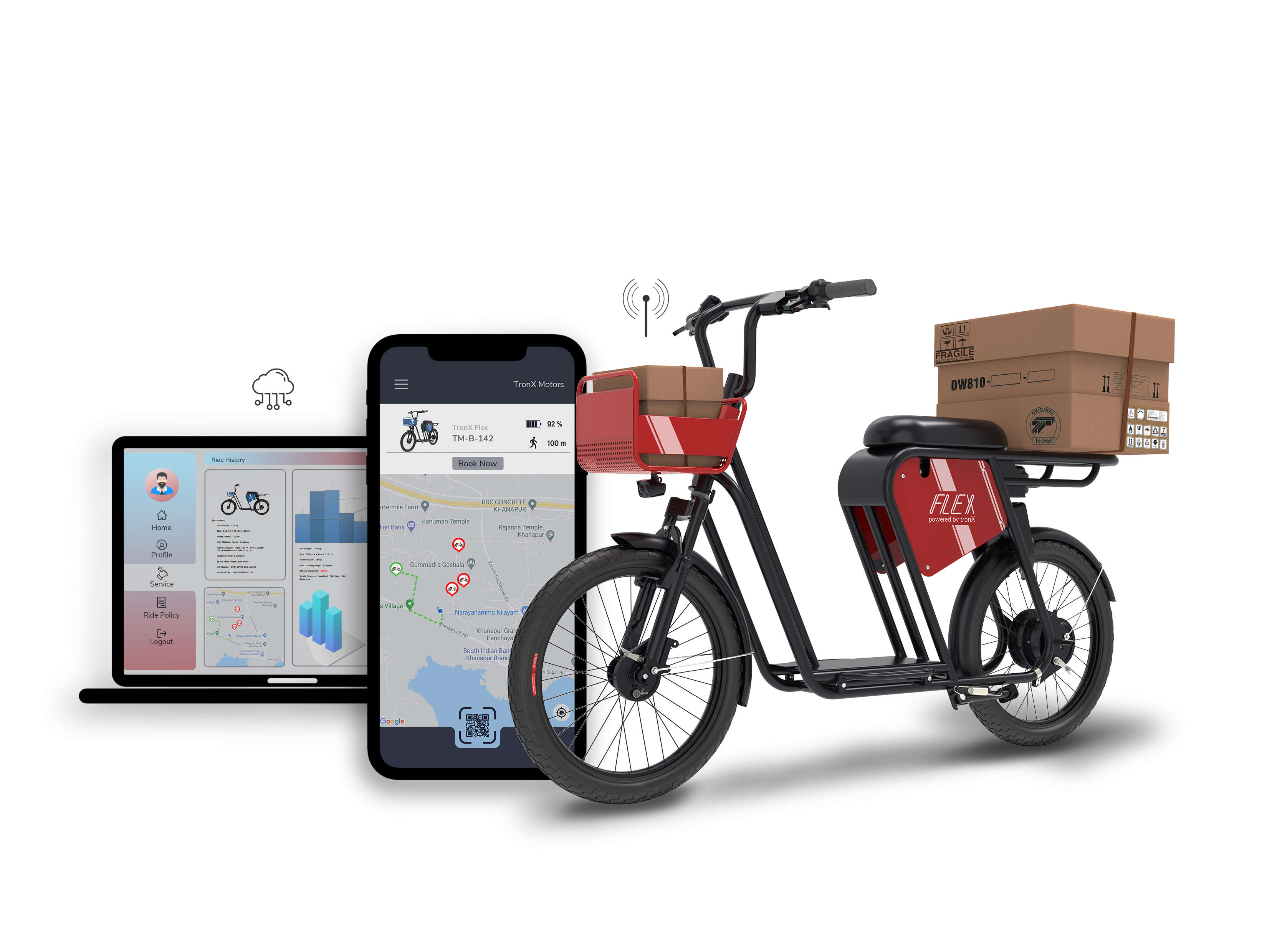 tbike flex is powered by tronX™, the native AIOT platform that enables several smart and intelligent features for fleet owners, riders and last-mile delivery operators.