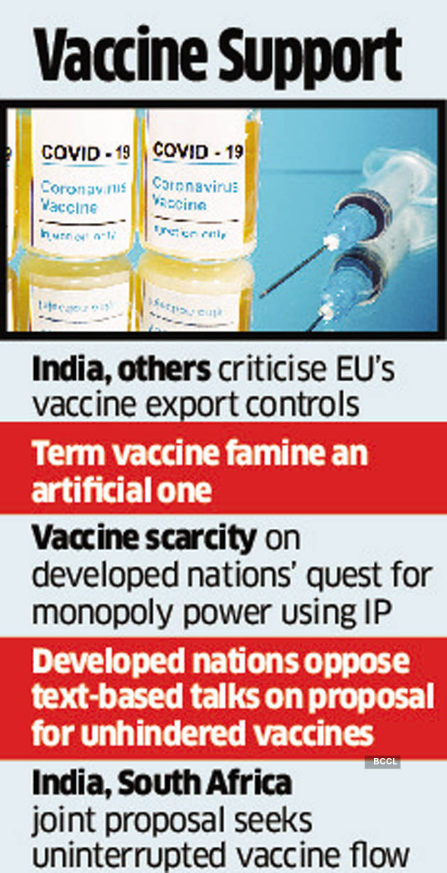 India joins league of 80 nations to slam EU's vaccine controls