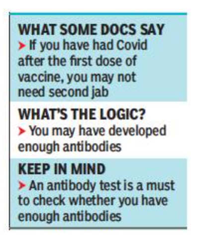 Infected after 1st jab? You may not need 2nd shot, feel doctors