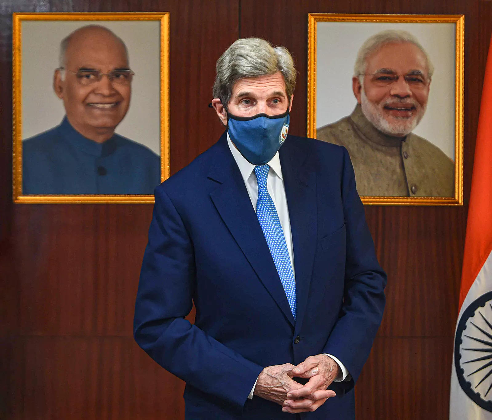 US climate envoy John Kerry during a meeting at Prayvaran Bhawan, in New Delhi. Photo/Shahbaz Khan