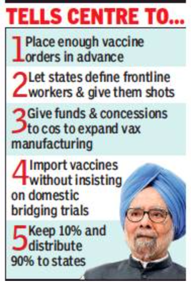 Manmohan offers PM 5-point Covid fight plan