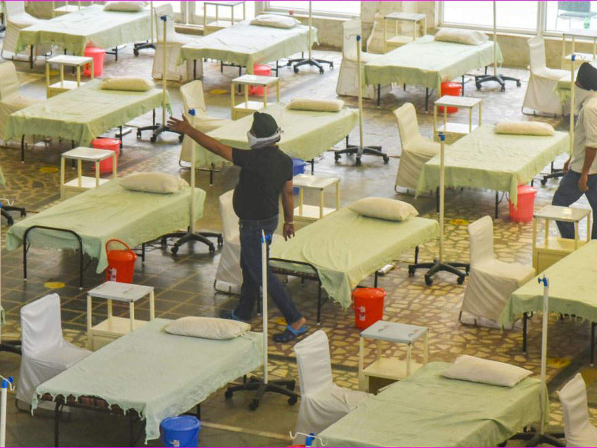 An under-construction temporary Covid care centre being prepared with beds and oxygen support at Gurudwara Rakab Ganj Sahib in New Delhi on Sunday. PTI