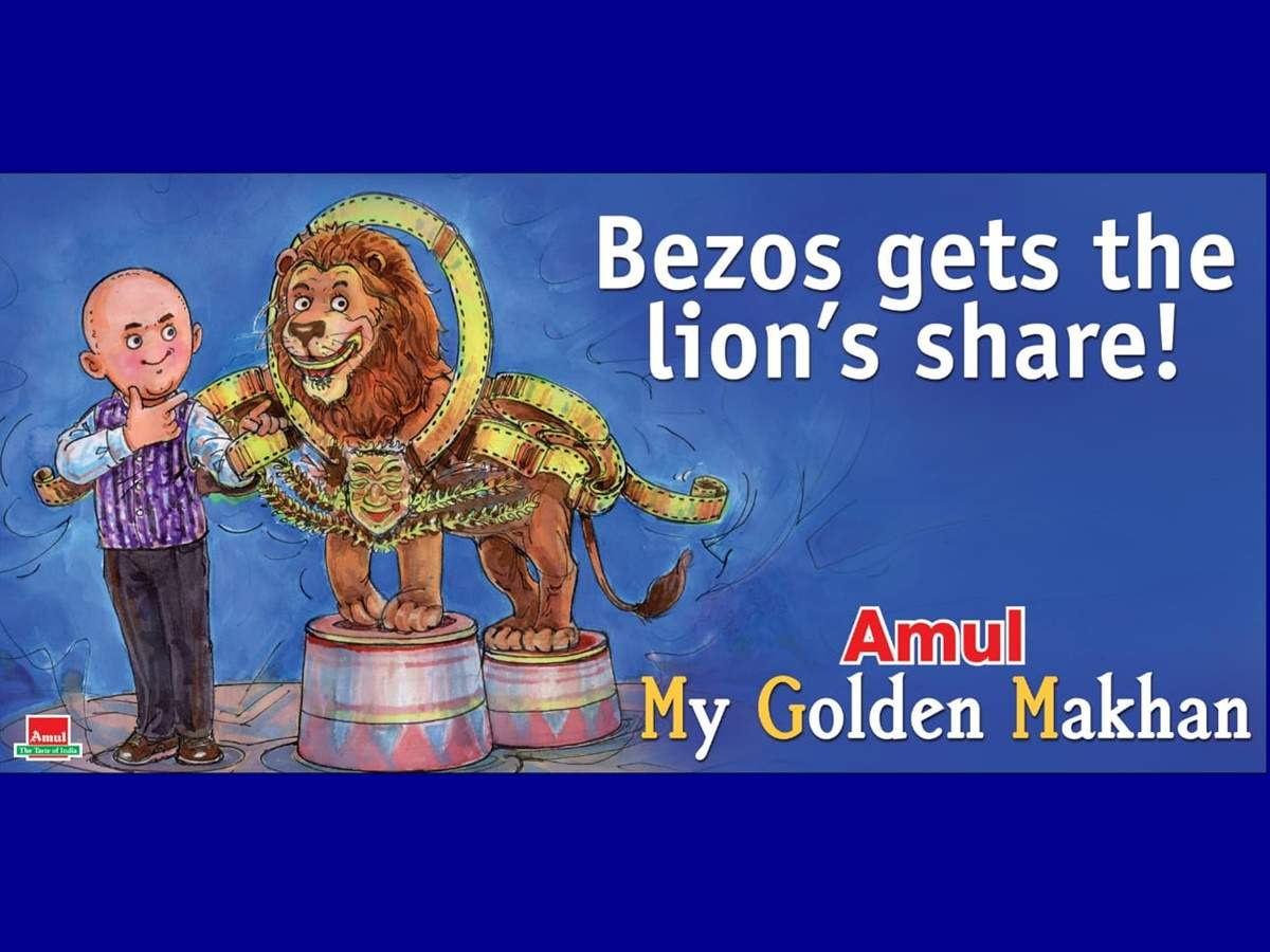 """With the doodle, Amul wrote, """"Bezos gets the lion's share."""""""