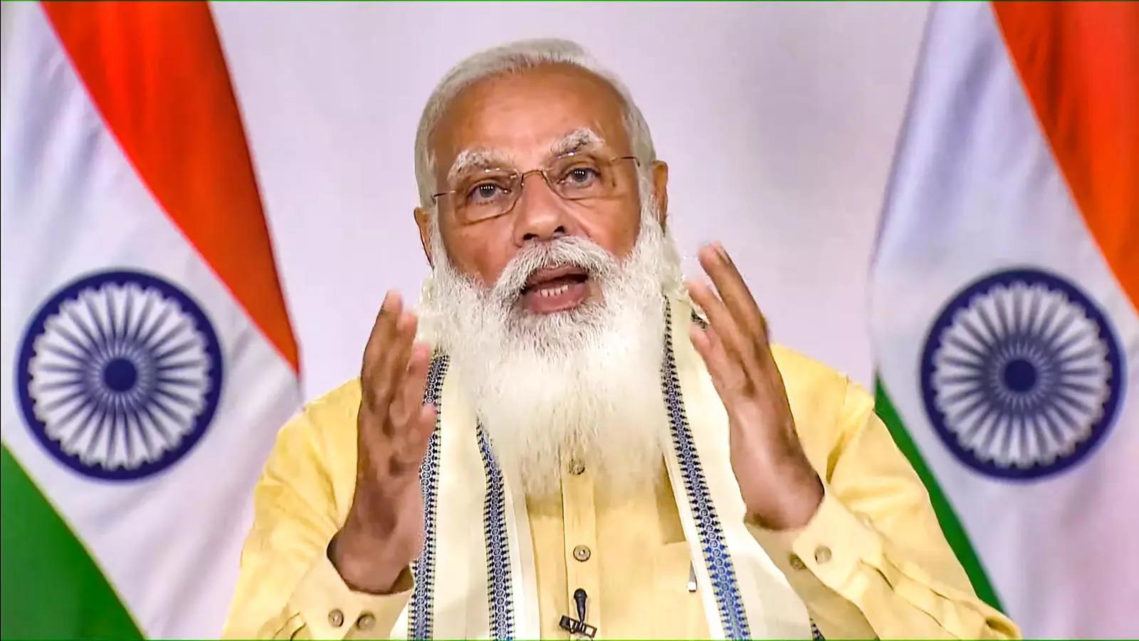 New Delhi: Prime Minister Narendra Modi addresses the nation, in New Delhi. (PTI Photo)(