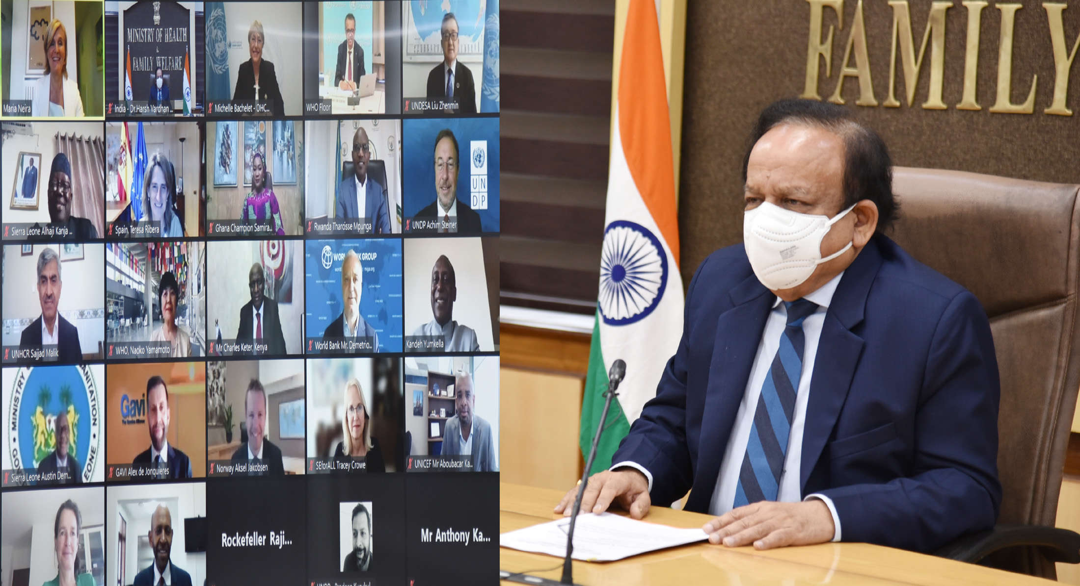 Dr Harsh Vardhan addresses the first meeting of WHO High-Level Coalition on Health and Energy Platform of Action