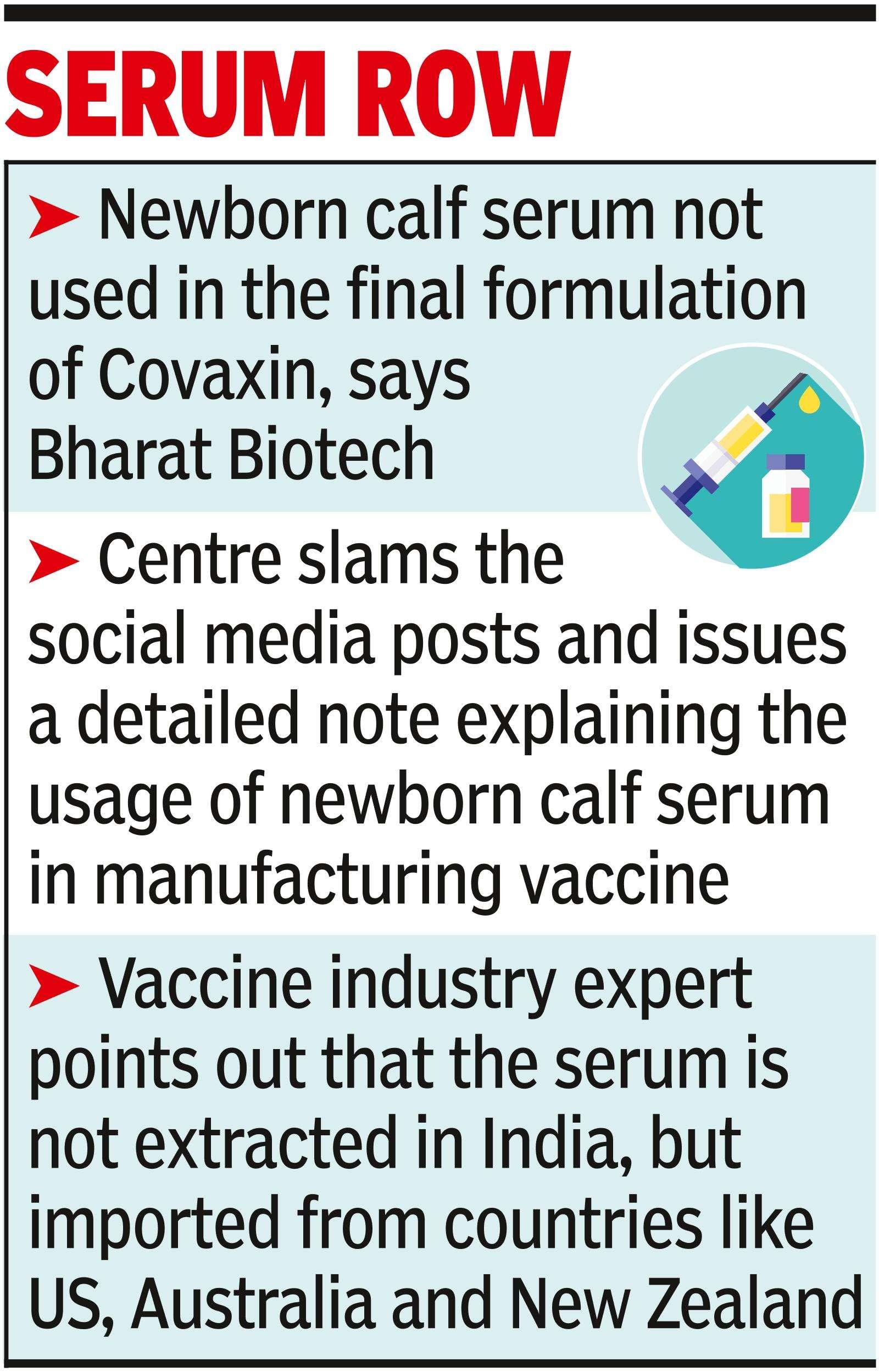 No newborn calf serum used in Covaxin, say Centre & BB