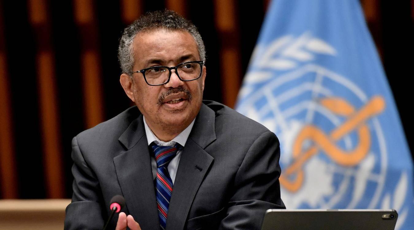 World Health Organization Director-General Tedros Adhanom Ghebreyesus attends a news conference in Geneva (Reuters)
